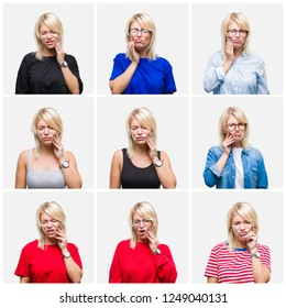 Collage of beautiful blonde woman wearing differents casual looks over isolated background touching mouth with hand with painful expression because of toothache or dental illness on teeth. Dentist