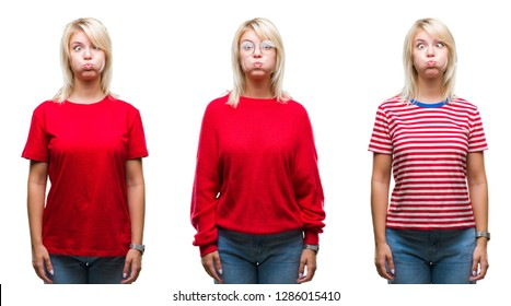 Collage of beautiful blonde woman wearing casual red over isolated background puffing cheeks with funny face. Mouth inflated with air, crazy expression.