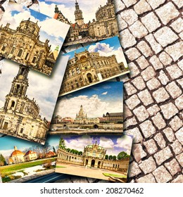 Collage of beautiful Dresden.Saxony. Germany