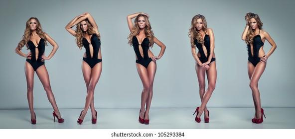 Collage of Beautiful fashion women posing on background
