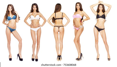 Collage, Beautiful full body brunette beauty women in sexy underwear, isolated on white background