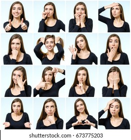 Collage of beautiful girl with different facial expressions isolated