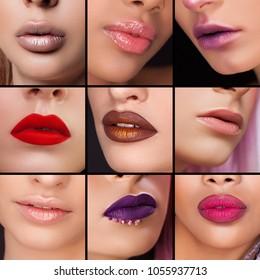 collage, beautiful make-up lips