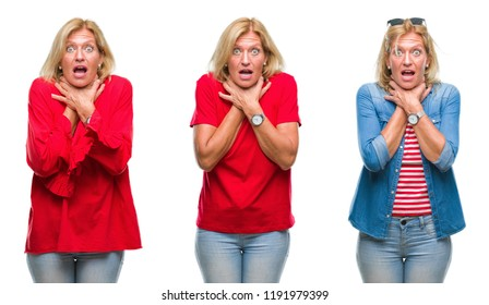 Collage of beautiful middle age blonde woman over white isolated backgroud shouting and suffocate because painful strangle. Health problem. Asphyxiate and suicide concept.