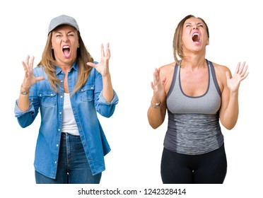 Collage of beautiful middle age woman wearing sport outfit over isolated background crazy and mad shouting and yelling with aggressive expression and arms raised. Frustration concept.