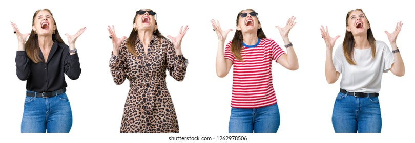 Collage of beautiful middle age woman over isolated background crazy and mad shouting and yelling with aggressive expression and arms raised. Frustration concept.