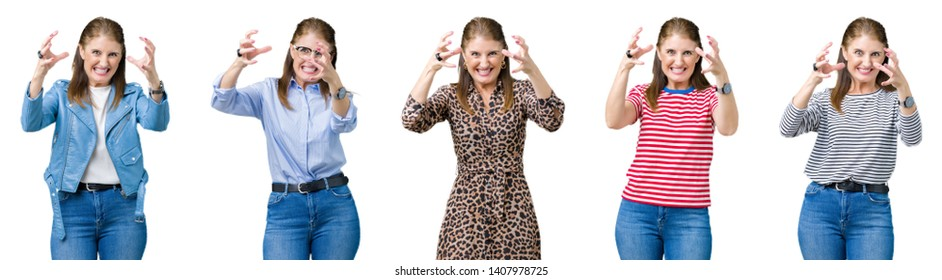 Collage of beautiful middle age woman over isolated background Shouting frustrated with rage, hands trying to strangle, yelling mad