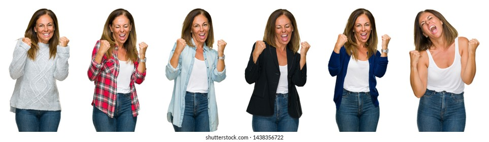 Collage of beautiful middle age woman over white isolated background very happy and excited doing winner gesture with arms raised, smiling and screaming for success. Celebration concept.