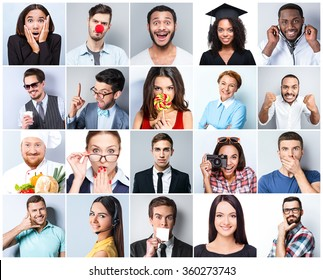 Collage of beautiful people of different nationalities on white and grey background. People expressing different emotions and representing different professions or occupations
