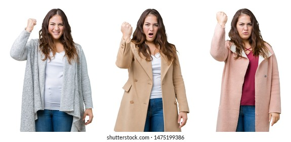 Collage of beautiful plus size woman wearing winter jacket over isolated background angry and mad raising fist frustrated and furious while shouting with anger. Rage and aggressive concept.