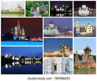 Collage with beautiful Russian Orthodox cathedrals, churches, luxury interior