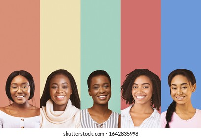 Collage of beautiful smiling black ladies over colorful studio backgrounds, african beauty concept