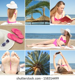 collage of beautiful summer holiday photos with young woman at the beach