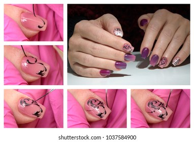 Collage of beautiful woman manicure