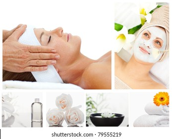 Collage of a beautiful woman relaxing receiving a massage  in a spa center