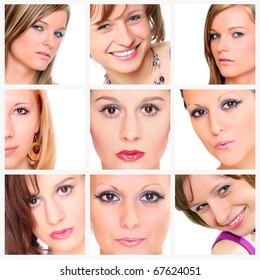 Collage of beautiful women's faces.