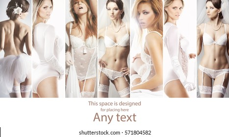 Collage of beautiful young brides in alluring lingerie posing on isolated background.