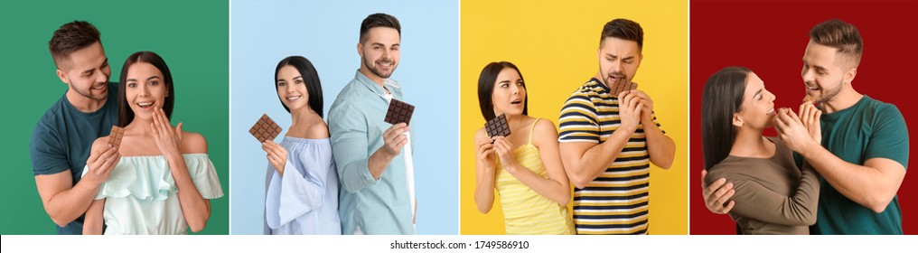 Collage with beautiful young couple eating tasty chocolate on colorful background - Shutterstock ID 1749586910