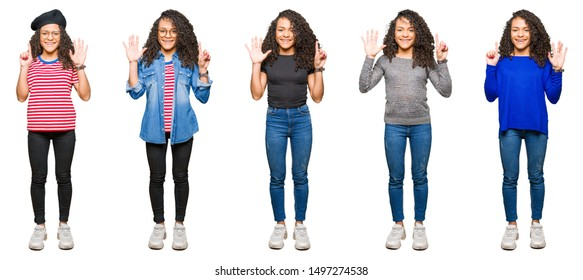 Collage of beautiful young woman with curly hair over white isolated background showing and pointing up with fingers number six while smiling confident and happy.