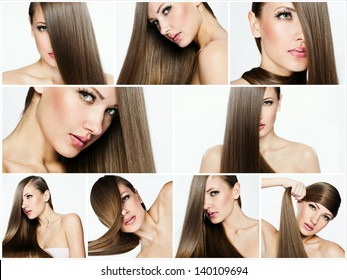 collage of a beautiful young woman , with long natural straight hair