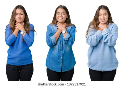 Collage of beautiful young woman over isolated background shouting and suffocate because painful strangle. Health problem. Asphyxiate and suicide concept.