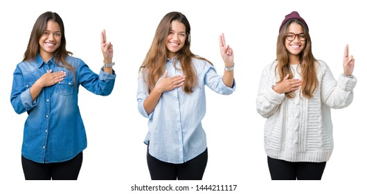 Collage of beautiful young woman over isolated background Swearing with hand on chest and fingers, making a loyalty promise oath