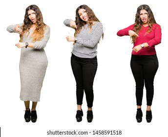 Collage of beautiful young woman over white isolated background In hurry pointing to watch time, impatience, upset and angry for deadline delay