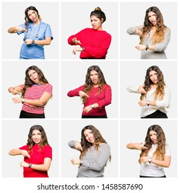 Collage of beautiful young woman wearing different looks over white isolated background In hurry pointing to watch time, impatience, upset and angry for deadline delay