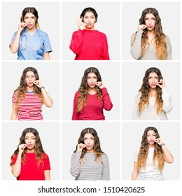 Collage of beautiful young woman wearing different looks over white isolated background mouth and lips shut as zip with fingers. Secret and silent, taboo talking