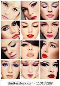 Collage. Beautiful young women with stylish cat eye make-up. Makeup, fashion, beauty.