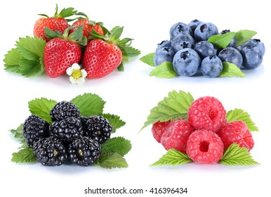Collage berries strawberries blueberries berry fruits isolated on a white background