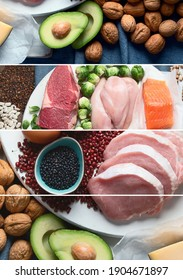 Collage of best high protein foods. Healthy eating concept. Health and body building food.