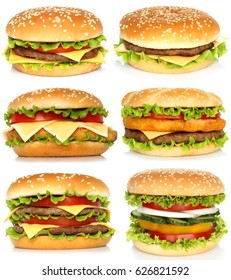 Collage of big hamburgers on white background.