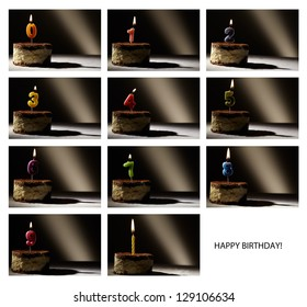 Collage of birthday candles with numbers from 0 to 9 in a tiramisu cake. Beautiful vintage-style backlight.