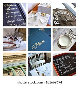 Collage of bistros and restaurants