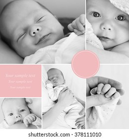 Collage of black and white newborn baby's photos