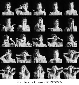 Collage of black and white photos of woman different facial expressions