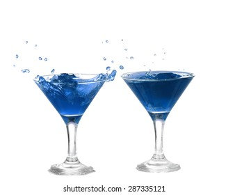collage of blue cocktail with splashes isolated on white background