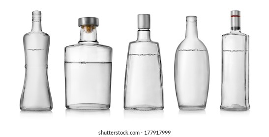 Collage of bottles of vodka isolated on a white background
