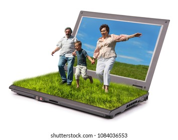 Collage with boy and her grandparents running on summer lawn and holding for hands and notebook isolated on white, virtual reality concept