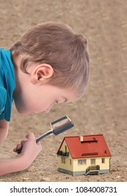 collage with boy looking through magnifying glass house model on ground