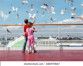 Collage with boy in red t-shirt and his younger sister feed seaguls on deck of ship