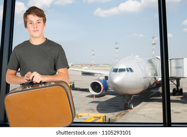 Collage with boy teenager in grey t-shirt holds suitcase against background of airport runway