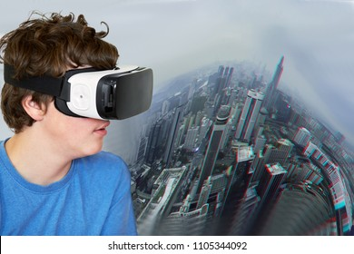 Collage with boy in virtual reality headset against background of cityscape