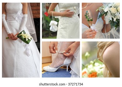 collage of bride body parts