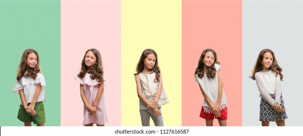 Collage of brunette hispanic girl wearing different outfits looking away to side with smile on face, natural expression. Laughing confident.