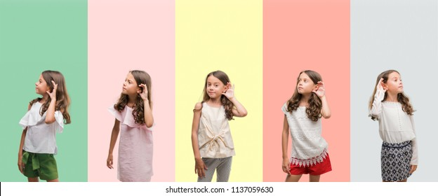 Collage of brunette hispanic girl wearing different outfits smiling with hand over ear listening an hearing to rumor or gossip. Deafness concept.