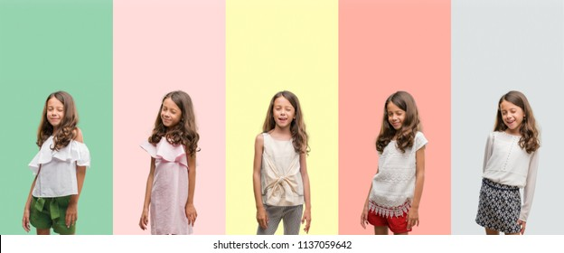 Collage of brunette hispanic girl wearing different outfits winking looking at the camera with sexy expression, cheerful and happy face.