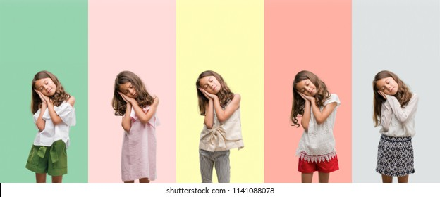 Collage of brunette hispanic girl wearing different outfits sleeping tired dreaming and posing with hands together while smiling with closed eyes.