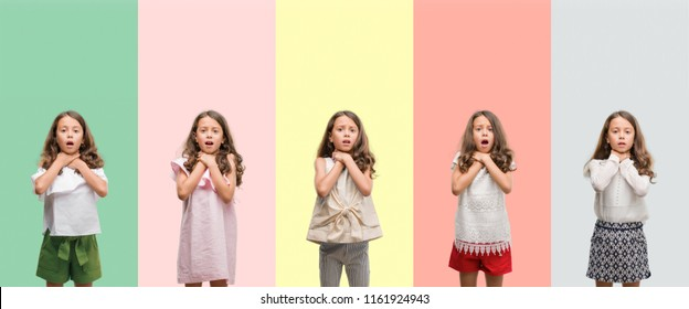 Collage of brunette hispanic girl wearing different outfits shouting and suffocate because painful strangle. Health problem. Asphyxiate and suicide concept.